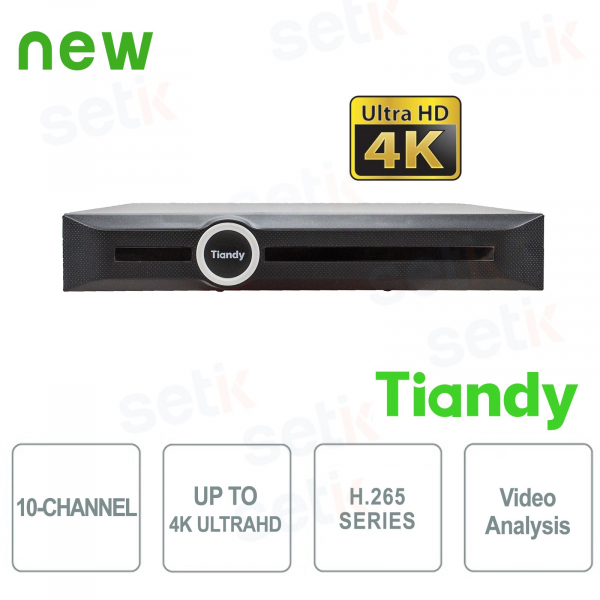 NVR 10 Canali 4K ULTRA-HD H.265 Video Analisi Smart Search&Recording - Tiandy