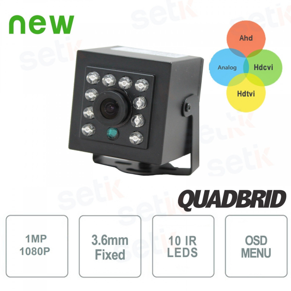 "Hybrid Hidden Camera 4in1 ""Analog/Ahd/Hdcvi/Hdtvi"" 720P 3.6mm with IR - Setik"