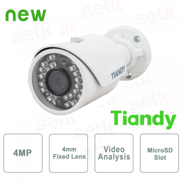 Telecamera IP Mini IR Bullet 4MP 4mm Video Analisi WDR - Tiandy
