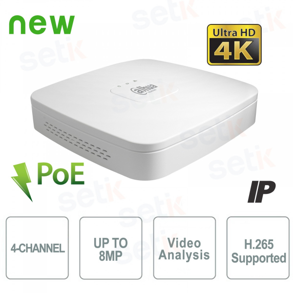 NVR IP a 4 Canali 4K&H.265 fino a 8MP 1HDD PoE - Dahua
