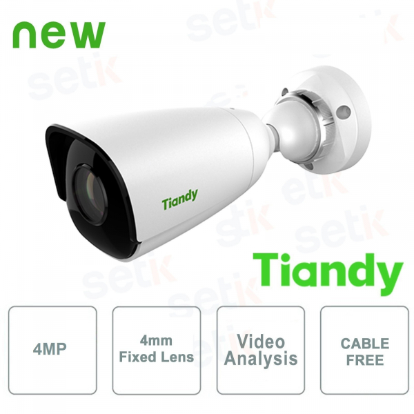 Telecamera IP Mini IR Bullet 4MP 4mm CableFree Video Analisi WDR - Tiandy