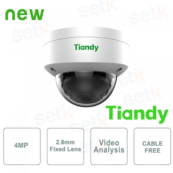 Telecamera IP Mini IR Dome 4MP 2.8mm CableFree Video Analisi WDR - Tiandy