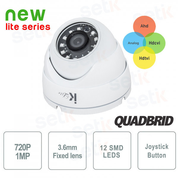 Dome Camera 4in1 720P HD Analog + Ahd + Tvi + Cvi 3.6mm SMD - Lite Setik