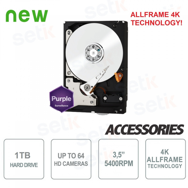 "HD 1TB Hard Disk Audio Video SATA 3.5"" AllFrame 4K - WD"