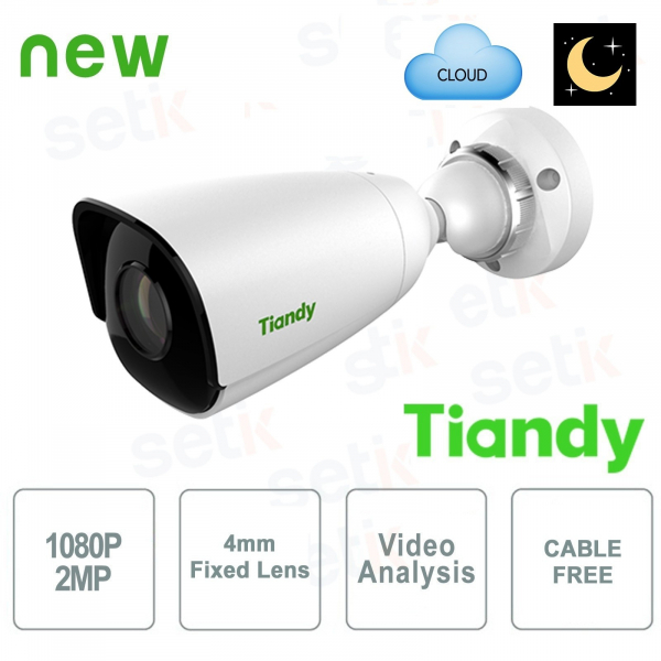 IP Mini Bullet Camera 2MP Starlight 4mm CableFree Video Analysis WDR - Tiandy