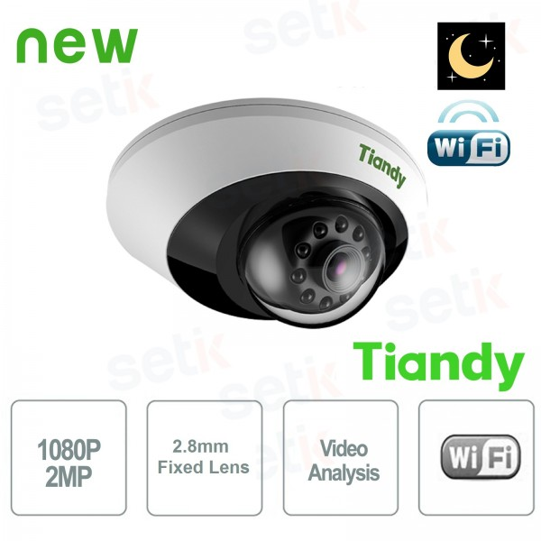 WiFi Dome IP Camera 2MP Starlight 2.8mm CableFree IVS WDR - Tiandy
