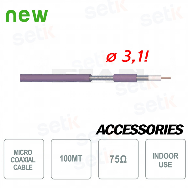Micro Coaxial Cable HD 100Meters 75OHM LSZH - Setik