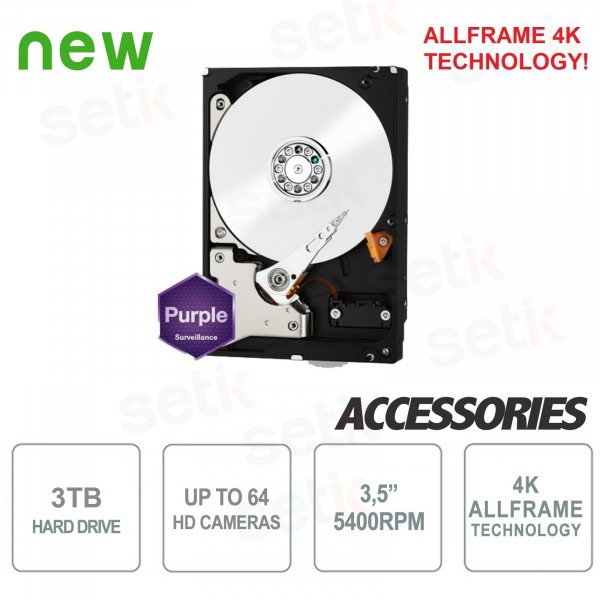 "HD 3TB Audio Video SATA 3.5"" Hard Disk ALLFRAME 4K - WD"