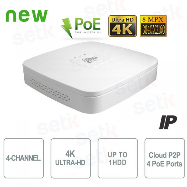 4K ULTRA-HD IP NVR 4 Channels 8MP 1HDD PoE P2P - Dahua