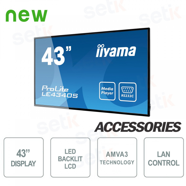 "Monitor LCD 43"" Prolite 1080P FULL-HD Speakers - IIYAMA"