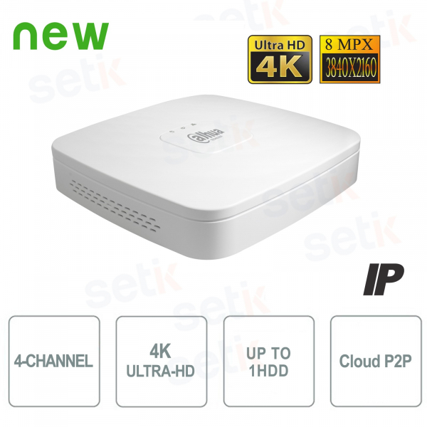 NVR IP 4K ULTRA-HD 4 Canali 8MP 1HDD P2P - Dahua