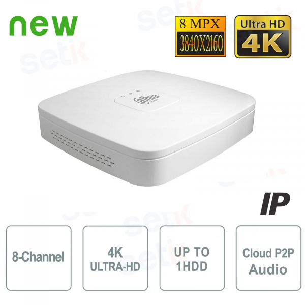 NVR 8 Channels IP 4K 8MPX ULTRA-HD H.265 Audio - Dahua