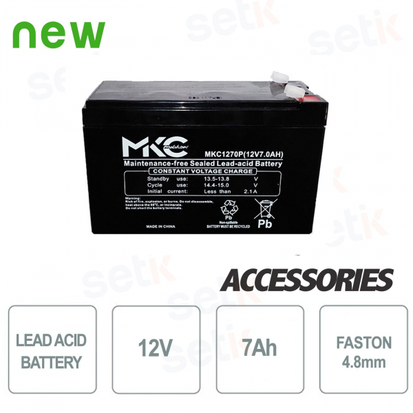 Lead acid battery / accumulator 12V 7.0Ah - Setik