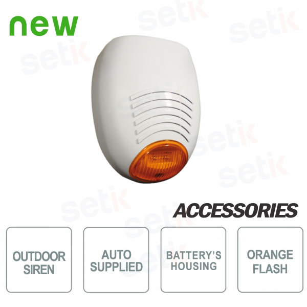 Self-powered and self-protected external siren, with orange flash light - AMC