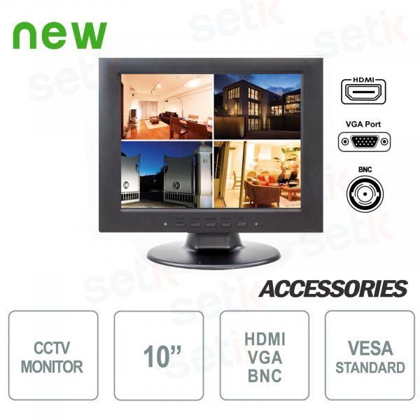 """Monitor Videosorveglianza 10"""" LCD 4:3 BNC - VGA - HDMI con Supporto Audio"""