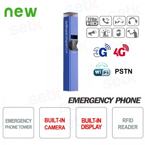 Emergency telephone SOS post with camera and Dahua Display