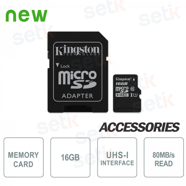 16GB Class 10 microSD Canvas Select card - Kingston