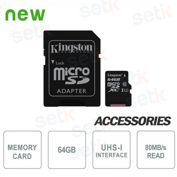 Scheda microSD Canvas Select 64GB Classe 10 - Kingston