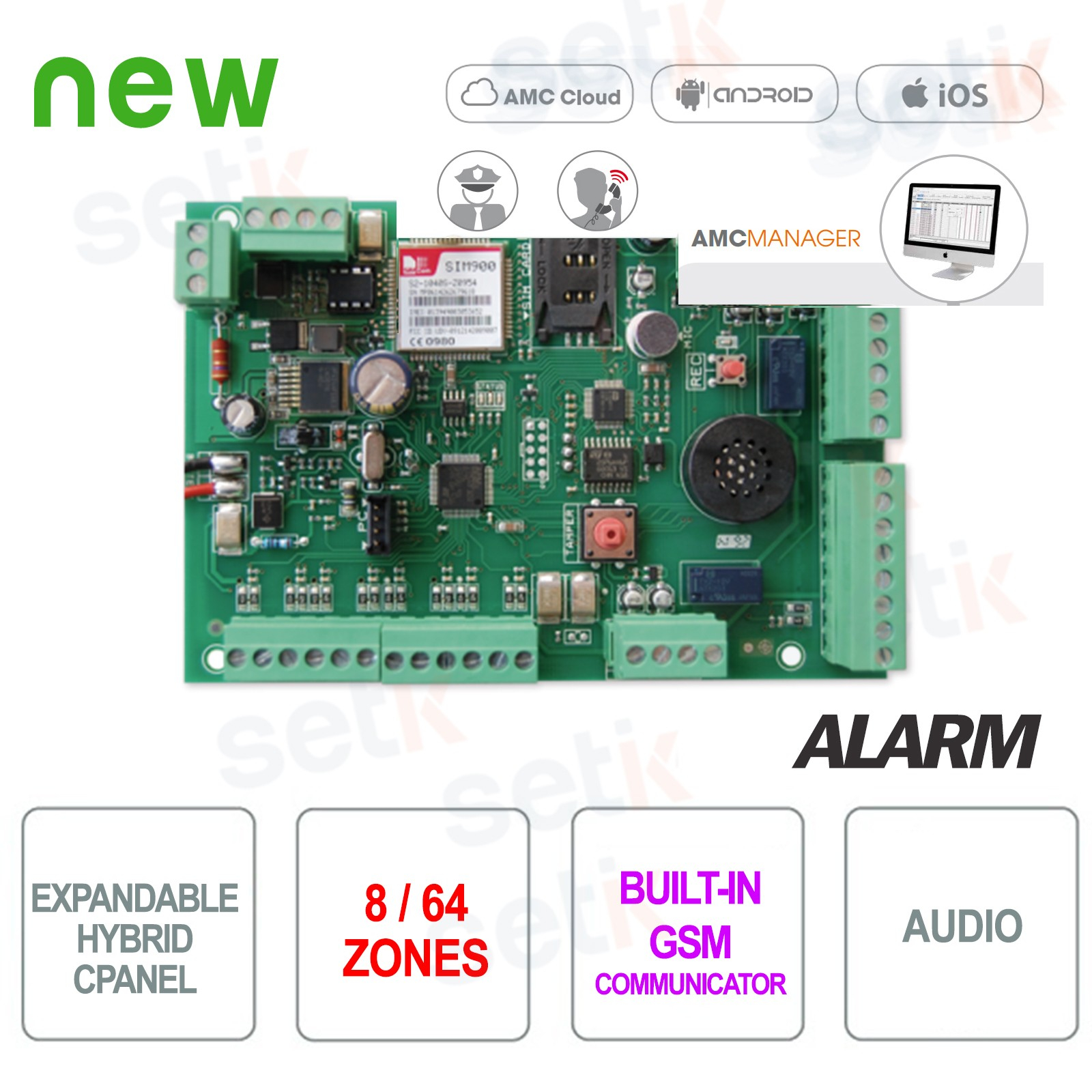 Kit C64 Gsm Kit Allarme 8 zone GSM AMC