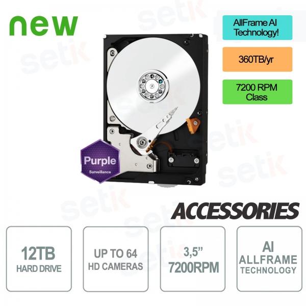 Hard Disk HD 12TB Purple Version - Alta Qualità - Audio/Video - Western Digital