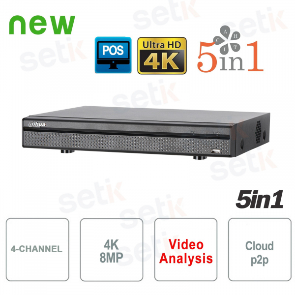 DVR 5in1 H265 4 Channels Ultra HD 4K 8MP - Dahua