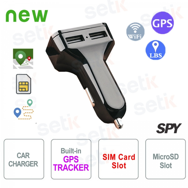 USB Dual Car Charger with Setik GPS Tracker