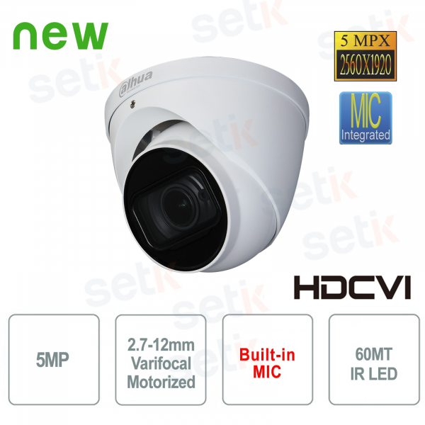 Telecamera Dahua 5MP HDCVI Dome Motorizzata Audio