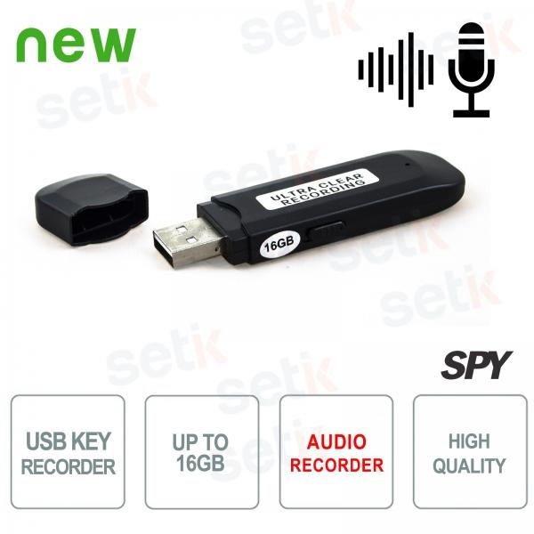 16GB Spy USB Flash Drive - 300h Audio Recording - Setik