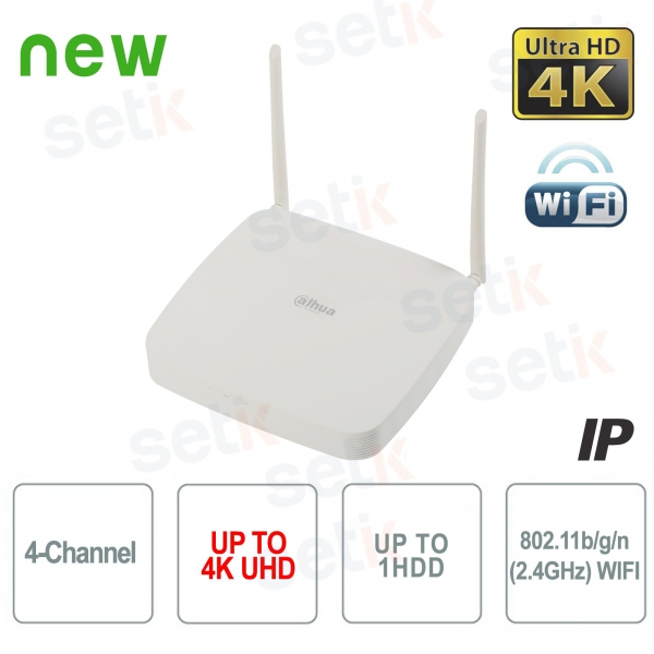 NVR 4 Channels IP WIFI Dahua 4K 8 MP 80Mbps H.265