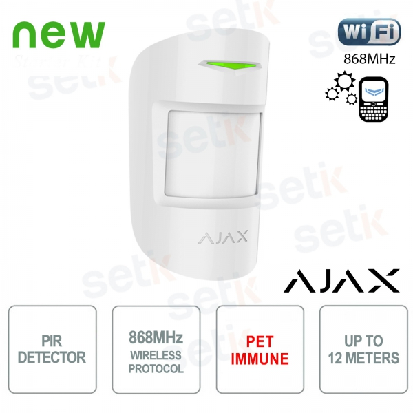 Ajax Rivelatore di Movimento PIR Pet Immune 868MHz