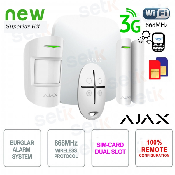 AJAX Kit di Allarme Professionale Wireless WIFI / 3G Dual Sim / LAN