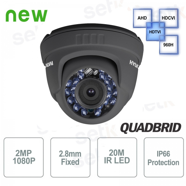 Video surveillance camera Hyundai 2 MP 4 in 1 Dome 2.8mm IR Dark Gray