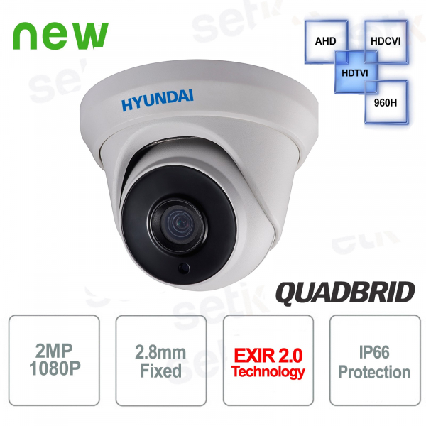 Hyundai 2 MP 4 in 1 Dome 2.8mm IR 40M Video Surveillance Camera