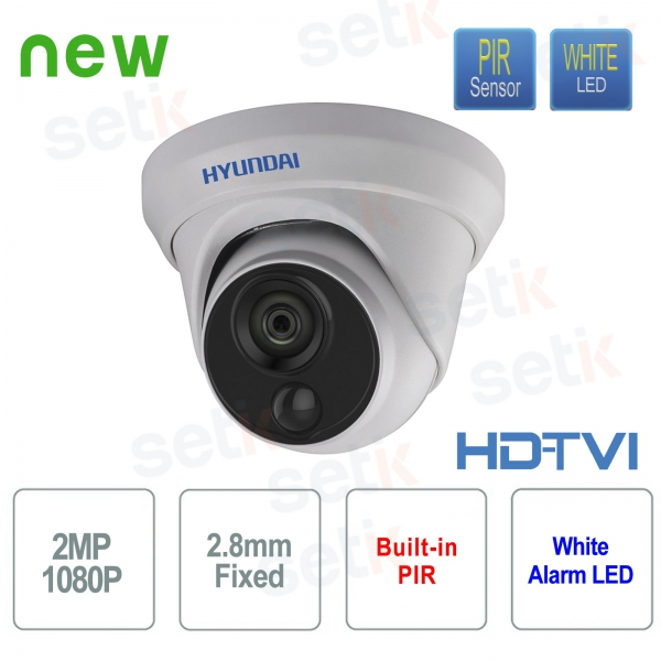 Hyundai 2 MP HDTVI Dome 2.8 mm video surveillance camera with integrated PIR