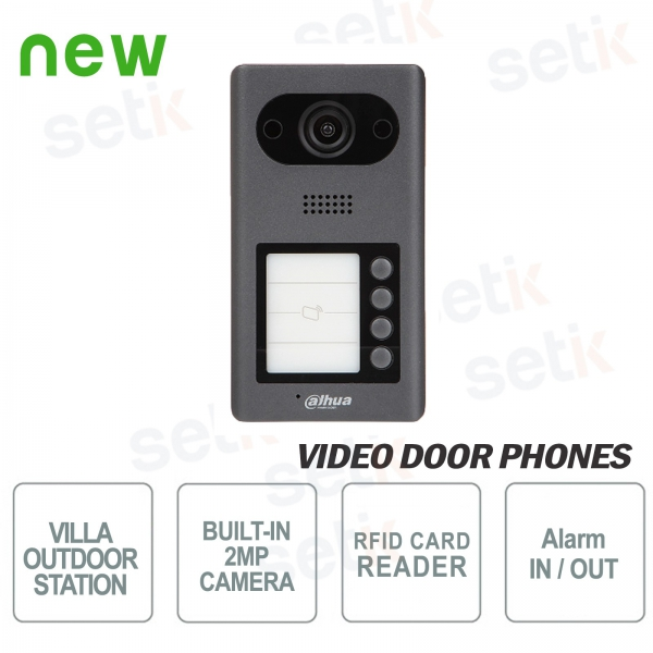 Dahua IP PoE video door phone 2 MP camera, 4 buttons and RFID re