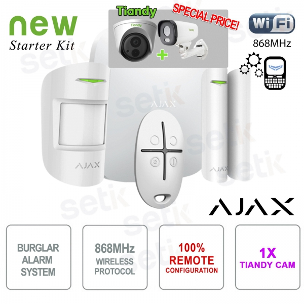 Promo AJAX Kit di Allarme Professionale Wireless + Telecamera IP Tiandy