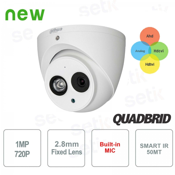 Telecamera Sorveglianza esterna 1 MP 4in1 2.8mm Audio Dahua