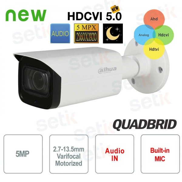 Dahua 5MP 4in1 Camera Motorized Starlight IR 80 Audio