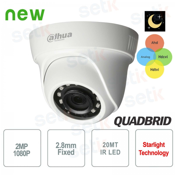 Telecamera Videosorveglianza Dahua 2 MP AHD Ibrida 4in1 12 LED IR 2.8 MM Starlight