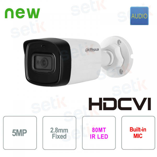 Camera External HD video surveillance Dahua CVI 5 MP 2.8 mm Audio