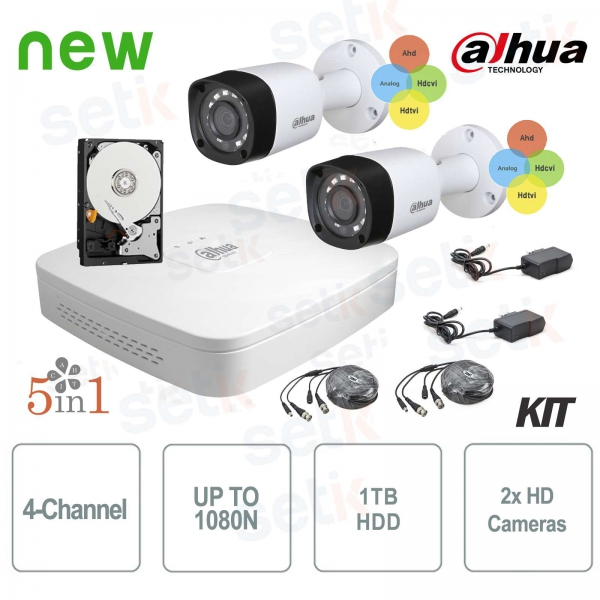 Dahua Surveillance Kit HDCVI 4 Channel DVR 2 Infrared Camera
