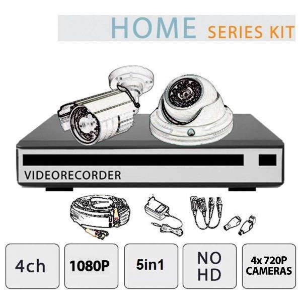 Video Surveillance Kit 4-Channel 1080P 4 Cameras NO HD - Home Series - Setik