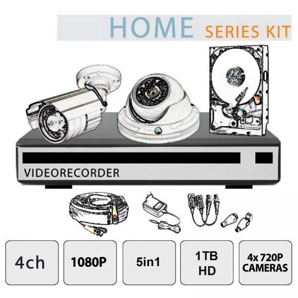 5in1 DVR Video Surveillance Kit - 4 Cameras