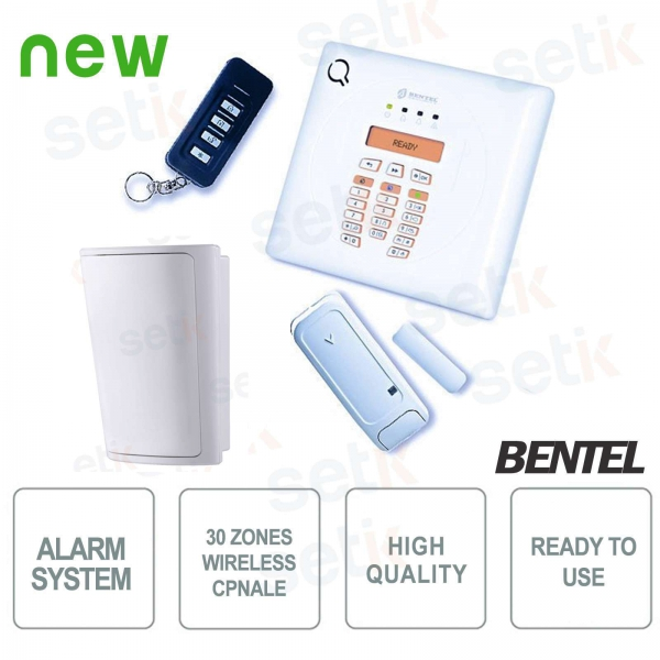 Complete Wireless Alarm Kit - PIR 30 Zones - Antitheft - Bentel