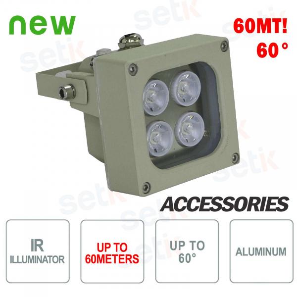 Infrared illuminator for IR 4 LED 60M 60 ° cameras - Setik
