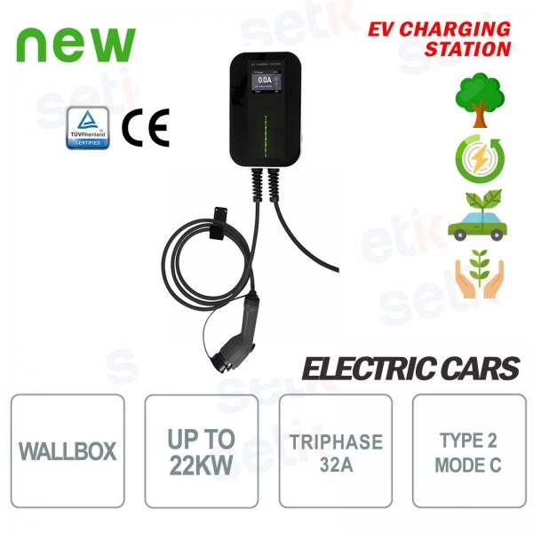WallBox Stazione di ricarica EV Auto Elettriche Trifase 22Kw Cavo 6MT