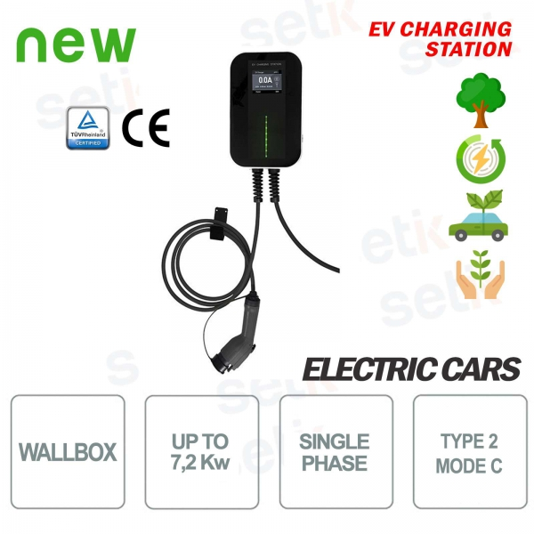 WallBox EV Electric Car Recharge Station Single Phase 7,2Kw 6MT Cable