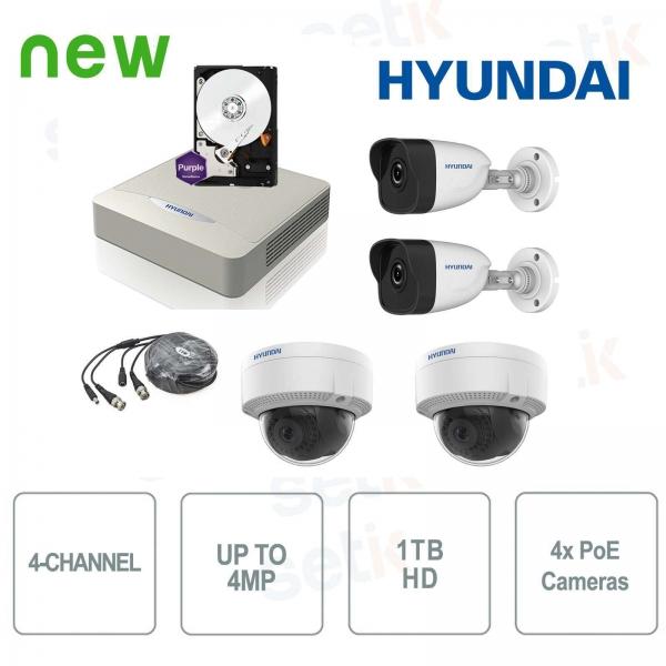 Kit Videosorveglianza 4 Canali IP 4MP + Cam PoE + HD - Hyundai