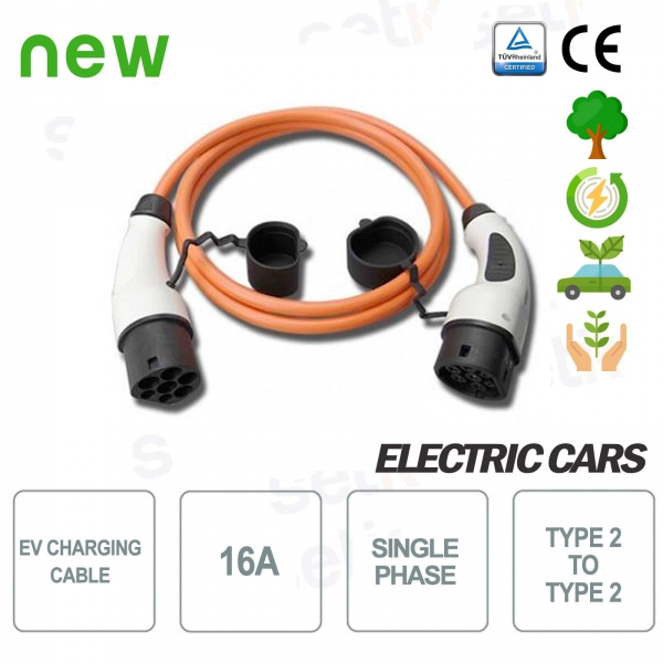 EV Type 2 to type 2 16A single-phase electric car charging cable