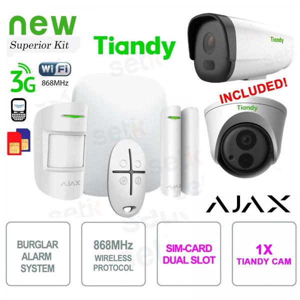 AJAX Kit Allarme Professionale Wireless WIFI / 3G Dual Sim + Telecamera IP Tiandy